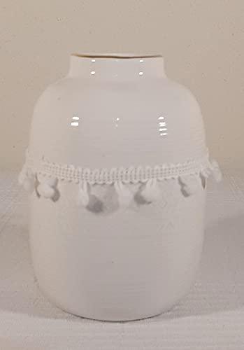 Jarron de Ceramica con Bolas de pasamaneria