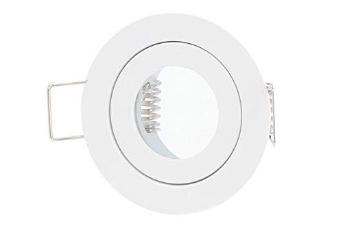 LED Line IP44 Einbaustrahler Set GU4 MR11 Leuchte Spot Einbaurahmen Wasserdicht Lampe Rund Weiß aus Aluminium mit GU5.3 Fassung keine Leuchtmittel Weiß