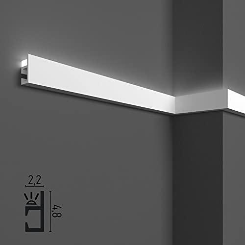 10 mètres linéaires de corniches décoratives pour LED de plafond et de mur, moulures pour éclairage indirect avec bandes LED, en duropolymère (lot de 10 profilés de 1 m - KH903)