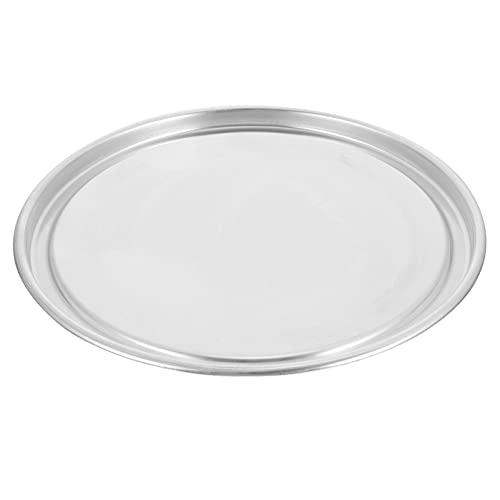 Cabilock Bandeja para pizza de aleación de aluminio, peso estándar, borde ancho, redonda, para hornear pizzas