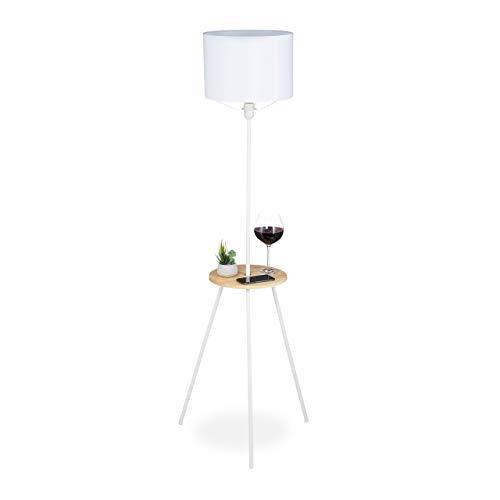 Relaxdays Lámpara de pie con mesa, 158 x 52 x 52 cm, E27, diseño escandinavo, madera y metal, lámpara de tres patas, color blanco