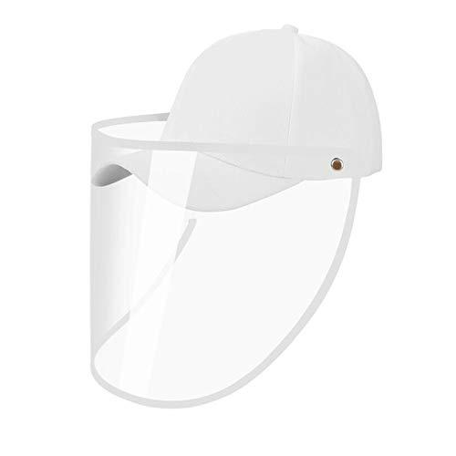 Cappello da Pescatore Unisex per Adulti con Visiera Trasparente Visiera Antipolvere UV Protezione Solare Cappello da Baseball per Esterni (D-Berretto da Baseball Bianco)