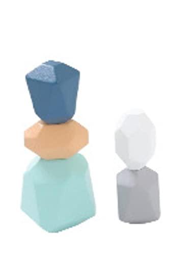 [Visca BG] 木製 ブロック 積み木 岩 ストーン型 立体 パズル 幼児 知育 玩具 木のおもちゃ 5p