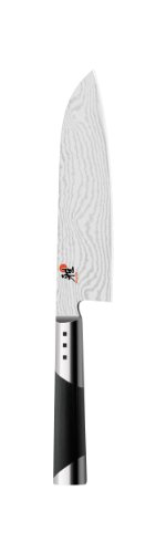 MIYABI Santokumesser, Klingenlänge: 18 cm, Großes Klingenblatt, Rostfreier Spezialstahl/Micarta-Griff, 7000 D, Schwarz