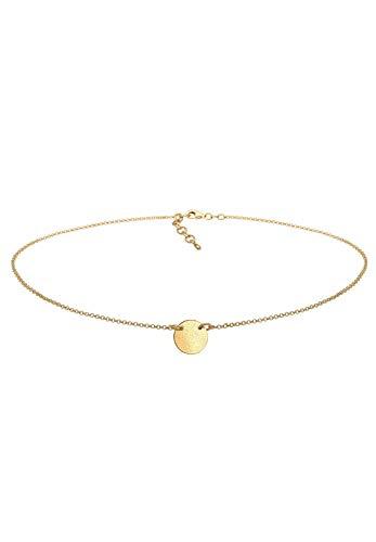 Elli Halskette Damen Choker Geo Plättchen matt schlicht in 925 Sterling Silber rosé vergoldet
