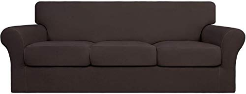 Mazu Homee 4 Stretch Soft Sofajacke, kann gereinigt werden (3 separate Matte), flexible Möbelabdeckung (Sofa, dunkelgrau)