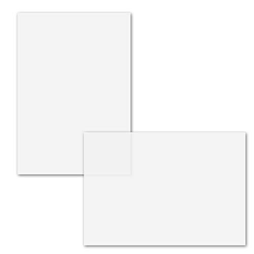 50x ungefalztes einfaches Einlege-Papier für DIN A6 Karten I transparent-weiß satiniert I 103 x 146 mm I Mit Perlmutt-Effekt GUSTAV NEUSER®