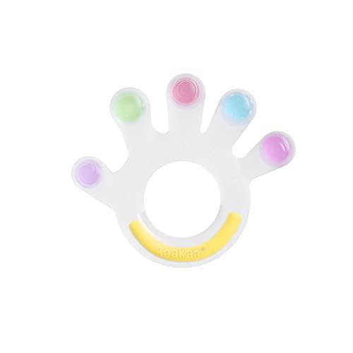 Haakaa Juguetes Dentición Mordedores de Bebé 3+ Meses Mordedor Bebes Refrigerante 100% de Silicona BPA-Gratis, Apariencia Palma de Colores
