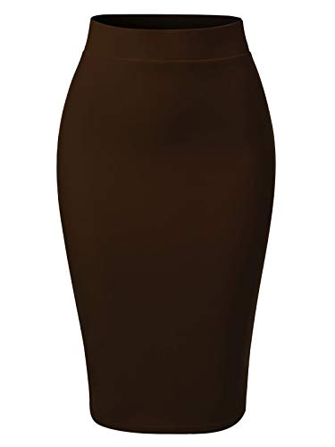 MixMatchy Women's Casual Classic Bodycon Pencil Skirt Brown M