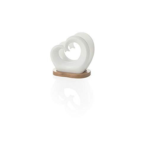 Brandani 54145 Portatovaglioli doppio cuore in porcellana bianca con supporto bamboo