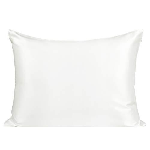 PiccoCasa Kissenbezug Seide Kissenbezüge 22 Momme mit Reißverschluss & Geschenkbox Seiden-Kissenhülle weich atmungsaktiv Weiß 51x66cm