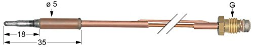 Thermoelement für Küppersbusch NGF144, NGF224, EGF124, EGF224, Palux 750301, 750328 für Gasherd, Fritteuse mit 2 Leitern M8x1
