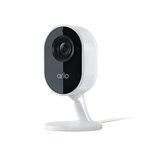 Arlo Essential Indoor Camera - 1080p Video with Privacy Shield, Plug-in, Night Vision, 2-Way Audio, Siren, Direct to WiFi No Hub Needed, Wireless Security, White - VMC2040