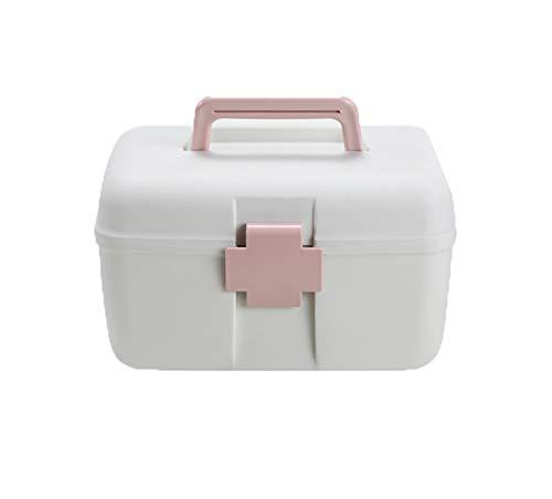YMZ - Caja de almacenamiento de primeros auxilios para el hogar, caja de medicinas, caja de almacenamiento de doble capa, caja de almacenamiento portátil para medicinas, organizador para el hogar