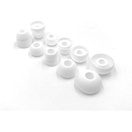 White Replacement Earbud Tips for Beats Powerbeats3 Wireless in Ear Headphones - Small, Medium, Large, Double Flange, and Bi-Tip (White)