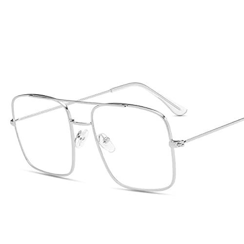 Gafas de sol de metal de doble haz de dos tonos de marco grande para hombres y mujeres