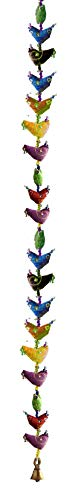 Rastogi Bricolage Guirlande de Bird Bell Suspension Traditionnelle Indienne Décoration à Suspendre, Tissu, Naturel, 20 Birds 8x115 cm