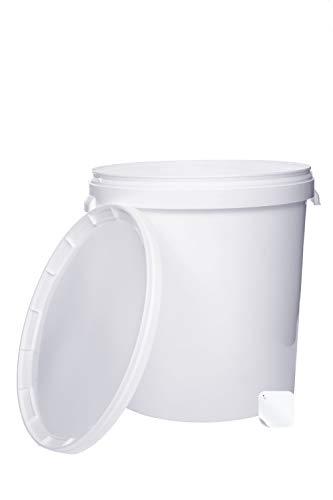 5 x 30 Liter Eimer mit Deckel weiß, stapelbarerer Milch-/Vorratseimer, Honigeimer Kunststoffeimer mit Lebensmittelfreigabe, Lebensmittelechte Behälter, Leereimer für Mehl, Wassereimer, 5 Stück