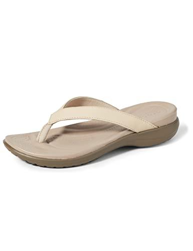 Crocs Capri V Flip W Mujer Sandalias, Beige (Chai/Walnut), 38/39 EU