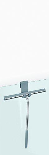 Nicol 2660500 Johann Duschabzieher aus Edelstahl glänzend verchromt, mit extra breitem Wischblatt und extra langem, gummiertem Griff, mit Silikon-Aufbewahrungshaken für Duschwand