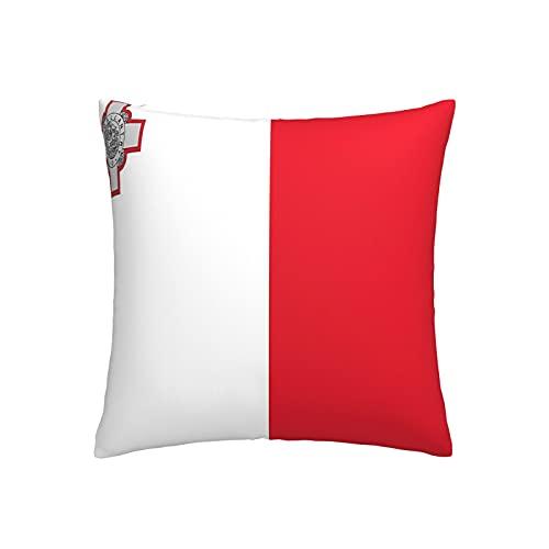 Kissenbezug, Motiv: Flagge von Malta, quadratisch, dekorativer Kissenbezug für Sofa, Couch, Zuhause, Schlafzimmer, für drinnen & draußen, 45,7 x 45,7 cm