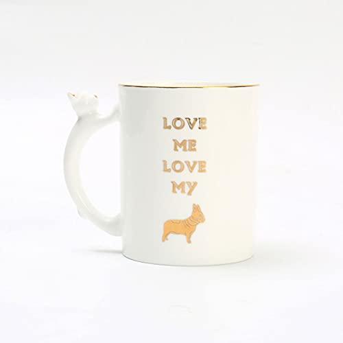 Bulldog Bone China Taza de impresión del Perro Taza de la Taza de Agua con la Fuga de té, Regalo para Amigos, Familia y compañeros (Color : White)