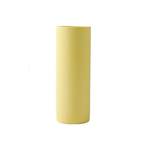 Straight Vase Ceramic Ornaments Simple Dried Flower Illustration Ceramic Decoration JSFQ (Color : Yellow)