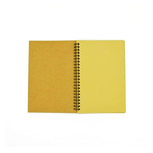Cuaderno Spiral Sketchbook Graffiti Notebook para suministros escolares 100 páginas Kraft Paper Cover Página en blanco (Color : KhakiCoverKhakiPage, Size : A5)