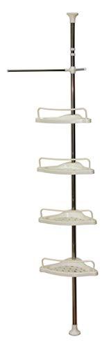 Hilier - Estantería de esquina para ducha, telescópica , 4 niveles, con altura ajustable de 185 cm a 310 cm