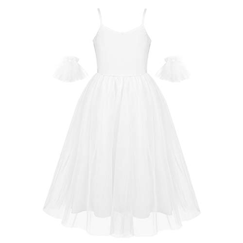 IEFIEL Vestido Largo de Danza para Niñas Vestido Elegante de Tirantes de Ballet Vestido Princesa de Danza Moderna Disfraz Bailarina Niña 6-14 años