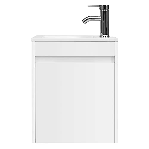 """eclife Bathroom Vanity W/Sink Combo 16"""" for Small Space MDF Paint Modern Design White Wall Mounted..."""