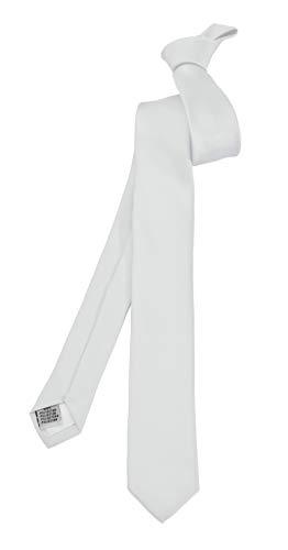 ADAMANT Schmale Herren Krawatte Weiß 5cm Schmal