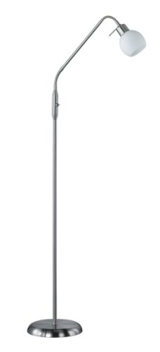 Trio Leuchten LED-Stehleuchte in Nickel inklusiv 1x E14, 4 Watt LED, zwei Flexgelenke, Höhe maximal 150 cm, Glas opal matt weiß 424810107