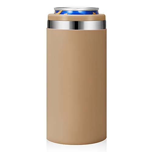 Zenbo Slim Can Cooler Skinny Can Cooler with Protective Silicone Sleeve,Double-Walled Stainless...