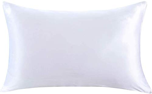 ZIMASILK 100% Mulberry Silk Pillowcase for Hair and Skin,Both Side 19 Momme Silk, 1pc (Queen 20''x30'', White)