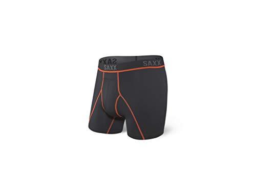 SAXX Underwear Men's Boxer Briefs – KINETIC HD Men's Underwear – Boxer Briefs with Built-In BallPark Pouch Support – Semi-Compression Underwear for Men,Black/Vermillion,Medium
