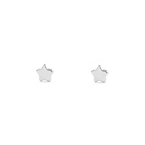 Pendientes Bebe o Niña Oro Blanco Estrella lisa brillo (9kts)