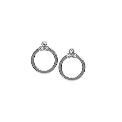 Pendientes de oro blanco de 14 quilates con diamantes de 0,06 Dwt para mujer