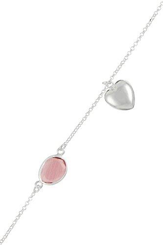 Córdoba Jewels   Pulsera en Plata de Ley 925 con Piedra semipreciosa. Diseño Corazón Kiut Amatista Silver