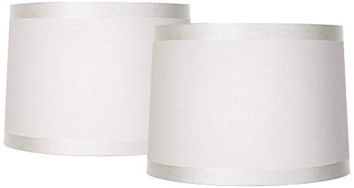 Set of 2 White Fabric Medium Drum Lamp Shades 13
