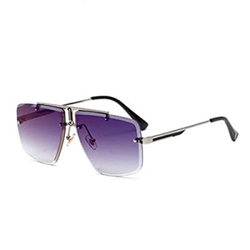 Beizi Gafas de Sol cuadradas Vintage sin Montura para Hombres, Gafas de Sol Retro de Marca de Lujo, Gafas de conducción para Hombre, Azul