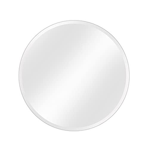 LWF Espejo De Pared De Baño Redondo Biselado Sin Marco Espejo De Maquillaje De Afeitado Espejo Plateado Platos HD Círculo Acolchado Grande para Pasillo Dormitorio Sala De Estar(Size:60CM)