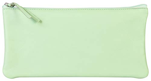 Clairefontaine 410166C - Trousse Scolaire Plate en Cuir Véritable 22x11 cm, Teinté Vert Pistache