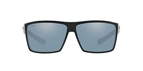 Costa Del Mar Men's Rincon Polarized Rectangular Sunglasses, Shiny Black/Grey Silver Mirrored Polarized-580P, 63 mm