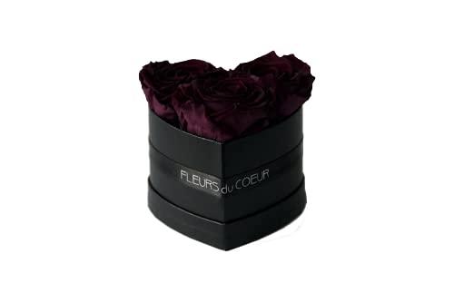 FLEURS du COEUR • Caja de rosas con corazón 3 (negro) – 3 rosas Infinity (Plum)   Caja de flores con rosas conservadas • Flores de corazón.