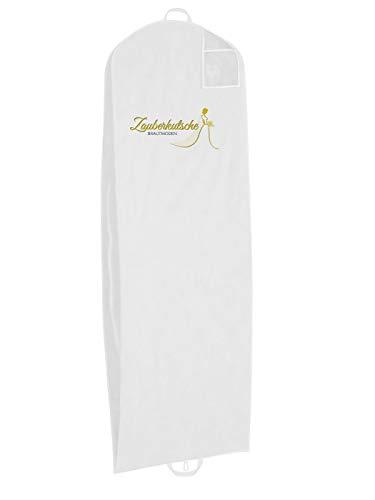 Zauberkutsche Atmungsaktive Brautkleiderhülle Kleiderhülle Schutzhülle für Brautkleider Abendkleider Anzüge Mäntel Anti-Staub Hochzeitskleid Kleidersack Weiß 200/70 / 20 cm