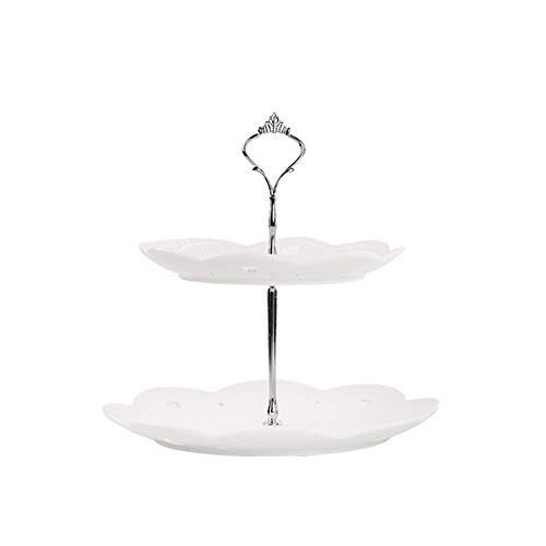 CL- Creative céramique double-couche trois-couche gâteau aux fruits présentoir dessert maison banquet fête parti décoration bureau accessoires, 2 styles en option Supports à cupcakes