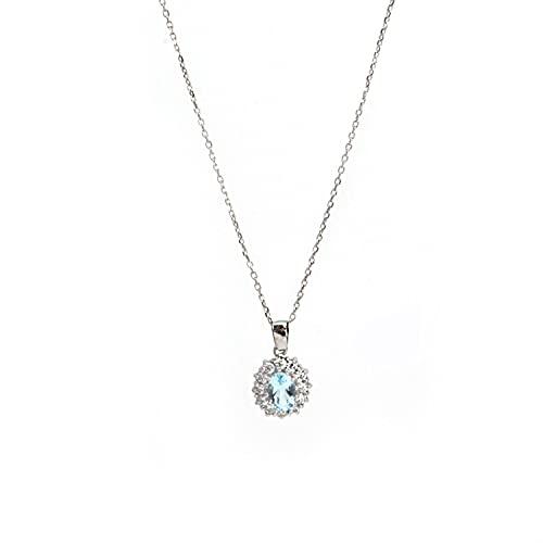 DO MA – Collar de plata – colgante redondo color agua marina con una fila de circonitas, cód. AG1520