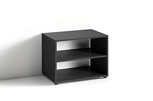 byLIVING TV Stand VICTORIA / kleines Regal schwarz / Beistelltisch 60 cm breit / Wohnzimmertisch / Schrank / TV Bank / TV Tisch / Schwarz / 60 x 45 x 39 cm (BxHxT)