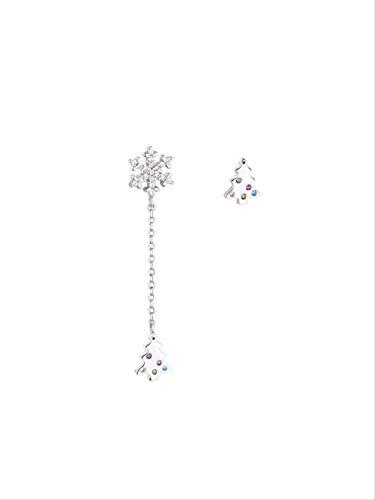 925 Sterling Silber Ohrringe Damen Ohrstecker,Schneeflocke Weihnachtsbaum Stilvolle Einfache Temperament Asymmetrie Kleine Exquisite Persönlichkeit Kreative Anti-Allergie-Geschenk Geschenk Für Frauen